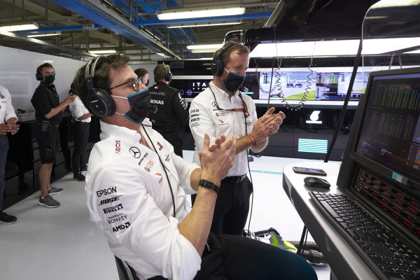 Toto Wolff, Executive Director (Business), Mercedes AMG, celebrates a front row lock out for Mercedes in the garage