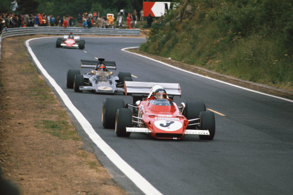 1972 French Grand Prix.  Clermont-Ferrand, France. 30th June - 2nd July 1972.  Jacky Ickx, Ferrari 312B2, 11th position, leads Emerson Fittipaldi, Lotus 72D Ford, 2nd position, and Ronnie Peterson, March 721G Ford, 5th position.  Ref: 72FRA45. World Copyright: LAT Photographic