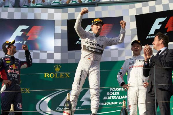 Albert Park, Melbourne, Australia. Sunday 16 March 2014. Nico Rosberg, Mercedes AMG, 1st Position, celebrates victory on the podium. World Copyright: Steve Etherington/LAT Photographic. ref: Digital Image SNE26158 copy