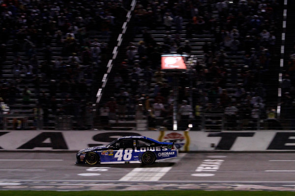 2-4 November, 2012, Fort Worth, Texas USA Jimmie Johnson takes the checkered flag to win the race.(c)2012, Lesley Ann Miller LAT Photo USA