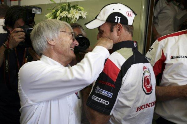 2006 German Grand Prix - Friday Practice Hockenheim, Germany. 27th - 30th July. Bernie Ecclestone and Rubens Barrichello, portrait. World Copyright: Charles Coates/LAT Photographic ref: Digital Image ZK5Y1055