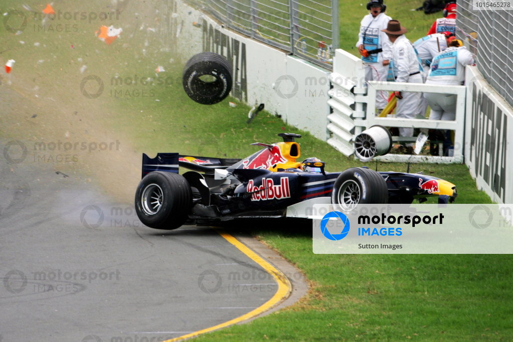 Christian Klien (AUT) Red Bull Racing RB2 crashes out of the race.