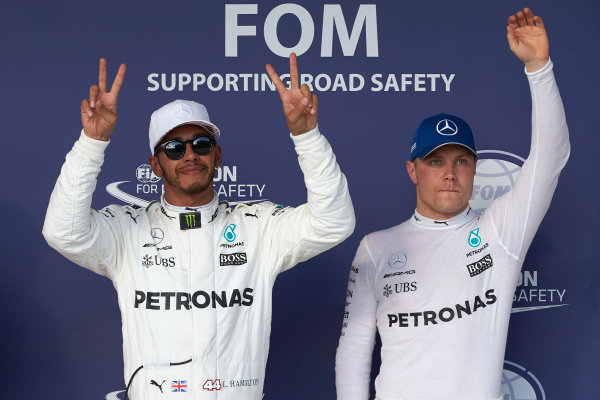 Circuit of the Americas, Austin, Texas, United States of America. Saturday 21 October 2017. Pole man Lewis Hamilton, Mercedes AMG, and Valtteri Bottas, Mercedes AMG, third on the grid. World Copyright: Steve Etherington/LAT Images  ref: Digital Image SNE19048