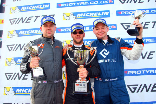 2017 Ginetta GT5 Challenge, Donington Park, Leicestershire. 23rd - 24th September 2017. Podium (l-r) Richard Evans, Adrian Campbell Smith, Nick Halstead. World Copyright: JEP/LAT Images