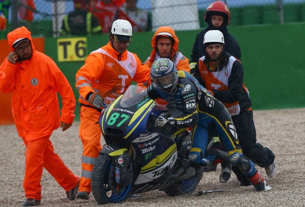 2017 Moto2 Championship - Round 13 Misano, Italy. Sunday 10 September 2017 Remy Gardner, Tech 3 Racing after his crash World Copyright: Gold and Goose / LAT Images ref: Digital Image 8203