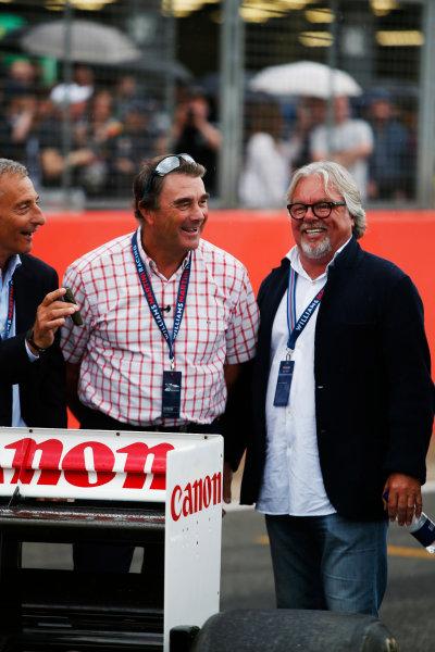 Williams 40 Event Silverstone, Northants, UK Friday 2 June 2017. L-R: Riccardo Patrese, Nigel Mansell and Keke Rosberg. World Copyright: Joe Portlock/LAT Images ref: Digital Image _L5R0354