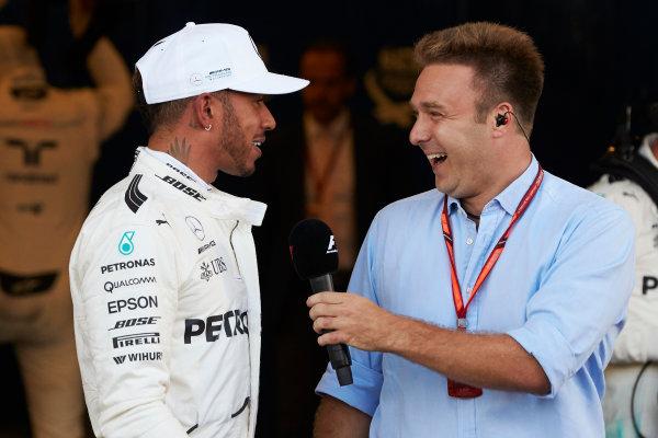 Baku City Circuit, Baku, Azerbaijan. Saturday 24 June 2017. Pole man Lewis Hamilton, Mercedes AMG, is interviewed after Qualifying by Davide Valsecchi. World Copyright: Steve Etherington/LAT Images ref: Digital Image SNE11496