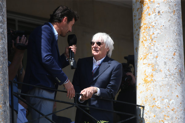 2017 Goodwood Festival of Speed. Goodwood Estate, West Sussex, England. 30th June - 2nd July 2017. Mark Webber anf Bernie Ecclestone World Copyright : JEP/LAT Images