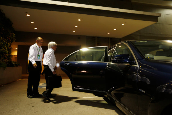 Marina Bay Circuit, Singapore. Saturday 21st September 2013. Bernie Ecclestone gets into his limousine to leave the paddock. World Copyright: Charles Coates/LAT Photographic. ref: Digital Image _N7T5537