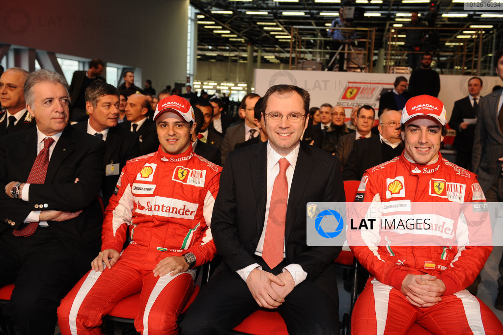 Maranello, Italy. 28th February 2010.Felipe Massa, Stefano Domenicali, Sporting Director, Ferrari and Fernando Alonso. Portrait. Copyright Free: EDITORIAL USE ONLY/Ferrari S.P Aref: 100031new