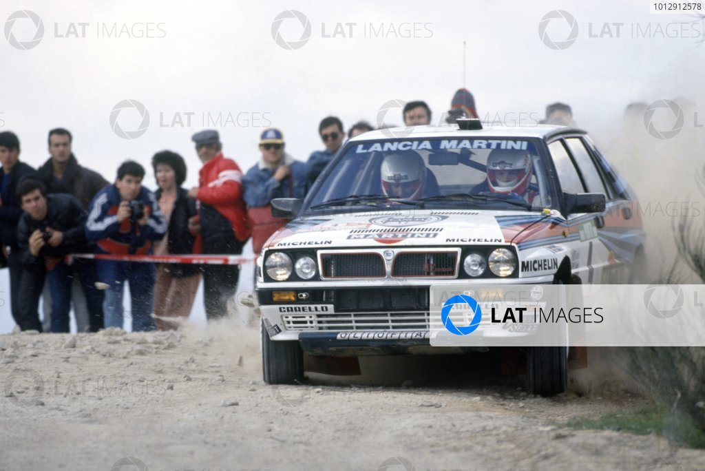 1988 World Rally Championship.Portuguese Rally, Portugal. 1-6 March 1988.Miki Biasion/Carlo Cassina (Lancia Delta Integrale), 1st position.World Copyright: LAT PhotographicRef: 35mm transparency 88RALLY09