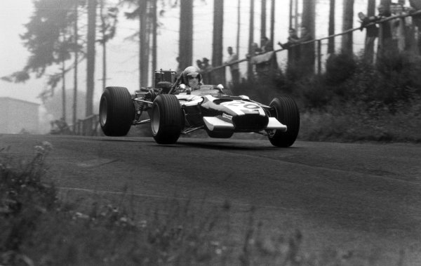 1968 German Grand Prix.Nurburgring, Germany. 4 August 1968.Vic Elford, Cooper T86B-BRM, retired, jump, action.World Copyright: LAT PhotographicRef: 851B #13A