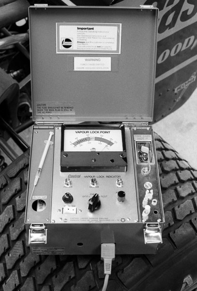A Castrol Vapour Lock Indicator used by the Wolf team.British Grand Prix, Rd 10, Brands Hatch, England, 16 July 1978.