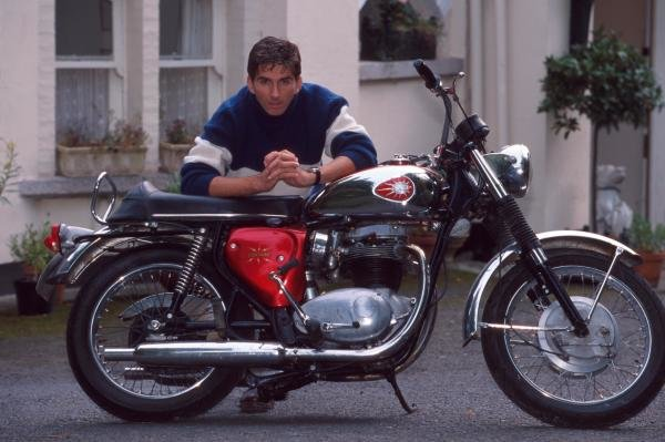 Damon Hill with his Motorbike.