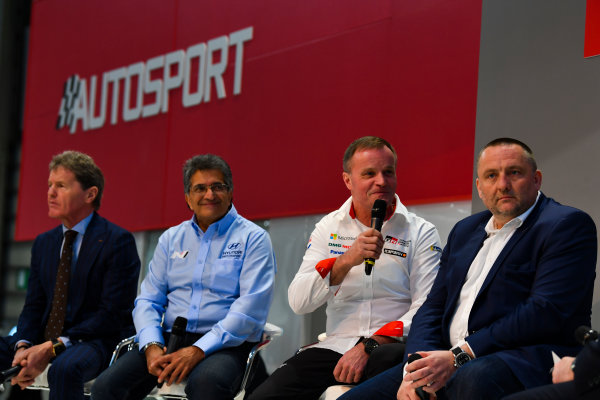 Autosport International Exhibition. National Exhibition Centre, Birmingham, UK. Thursday 11th January 2018. Malcolm Wilson, Michel Nandan, Tommi Makinen and Yves Matton talk to Henry Hope-Frost on the Autosport Stage. World Copyright: Mark Sutton/Sutton Images/LAT Images Ref: DSC_6649