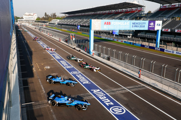 2017/2018 FIA Formula E Championship. Round 5 - Mexico City ePrix. Autodromo Hermanos Rodriguez, Mexico City, Mexico. Saturday 03 March 2018. Nicolas Prost (FRA), Renault e.Dams, Renault Z.E 17, leads Sébastien Buemi (SUI), Renault e.Dams, Renault Z.E 17, Daniel Abt (GER), Audi Sport ABT Schaeffler, Audi e-tron FE04, Lucas Di Grassi (BRA), Audi Sport ABT Schaeffler, Audi e-tron FE04 and Felix Rosenqvist (SWE), Mahindra Racing, Mahindra M4Electro. Photo: Sam Bloxham/LAT/Formula E ref: Digital Image _W6I1476