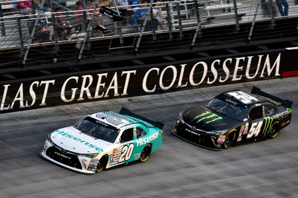 22 August, 2015, Bristol, Tennessee USA Denny Hamlin, Hisense Toyota Camry and Kyle Busch, Monster Energy Toyota Camry ? 2015, Nigel Kinrade LAT Photo USA
