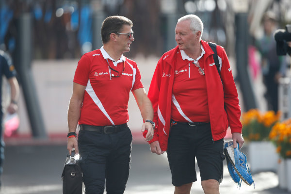 Autodromo Hermanos Rodriguez, Mexico City, Mexico. Friday 30 October 2015. Greame Lowdon, President and Sporting Director, Marussia F1, and John Booth, Team Principal, Manor Marussia F1. World Copyright: Charles Coates/LAT Photographic ref: Digital Image _J5R8546