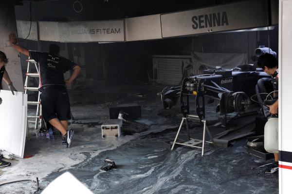 Circuit de Catalunya, Barcelona, Spain 13th May 2012 Fire damage in the Williams garage. World Copyright: Steve Etherington/LAT Photographic ref: Digital Image ESP-RACE-3537