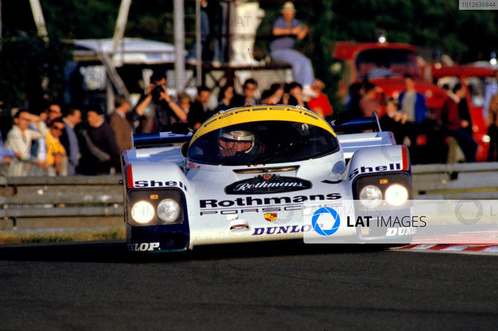 Le Mans, France. 18-19 June 1983.Al Holbert/Hurley Haywood/Vern Schuppan (Porsche 956), 1st position, action.World Copyright: LAT PhotographicRef: 35mm transparency.
