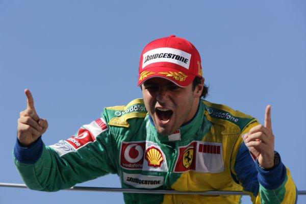 2006 Brazilian Grand Prix - Sunday Race Interlagos, Sao Paulo, Brazil. 19th - 22nd October 2006. Race Winner, Felipe Massa, podium, portrait. World Copyright: Charles Coates/LAT Photographic ref: Digital Image ZK5Y0902