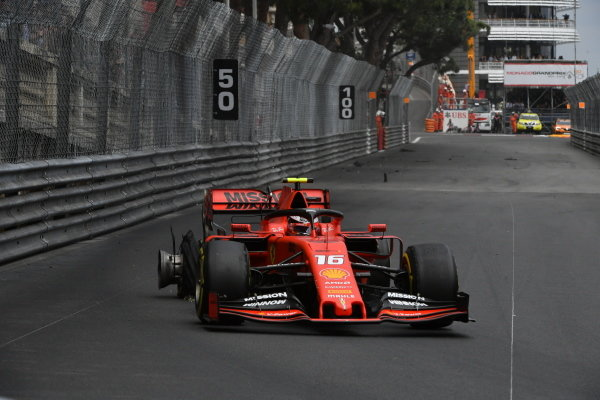 Charles Leclerc, Ferrari SF90, with a rear puncture