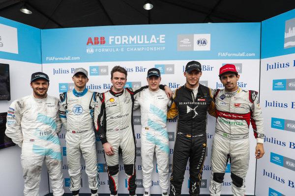 The Super Pole drivers: (L to R) Gary Paffett (GBR), HWA Racelab, Edoardo Mortara (CHE) Venturi Formula E, Oliver Rowland (GBR), Nissan e.Dams, Stoffel Vandoorne (BEL), HWA Racelab, Andre Lotterer (DEU), DS TECHEETAH and Lucas Di Grassi (BRA), Audi Sport ABT Schaeffler