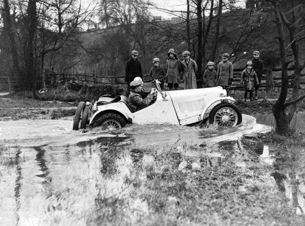 A car crossing a river.