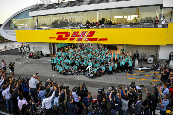 Mercedes AMG F1 team celebrate during team photograph