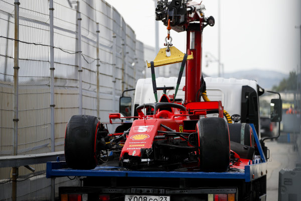 Car of Sebastian Vettel, Ferrari SF1000 being returned after crashing in qualifying