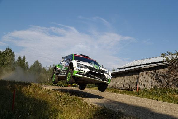 Norwegian Ole Christian Veiby flying his Skoda on Rally Finland