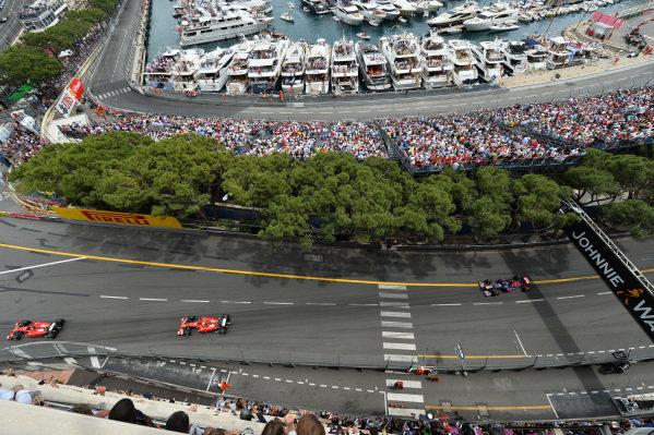 Fernando Alonso (ESP) Ferrari F14 T on the formation lap. Formula One World Championship, Rd6, Monaco Grand Prix, Race, Monte-Carlo, Monaco, Sunday 25 May 2014.