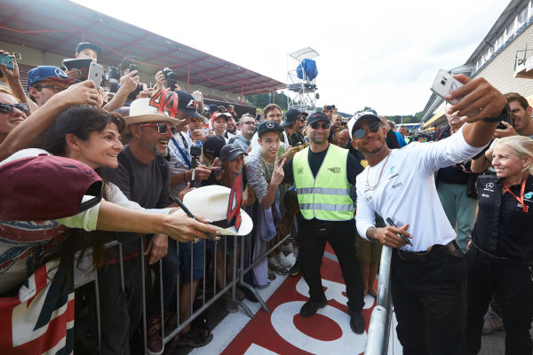Spa Francorchamps, Belgium.  Thursday 24 August 2017. Lewis Hamilton, Mercedes AMG, takes a photo with fans. World Copyright: Steve Etherington/LAT Images  ref: Digital Image SNE10738