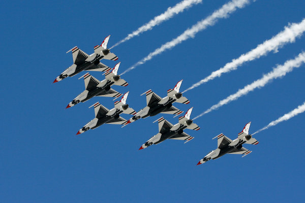 7-9 March, 2014, Las Vegas, Nevada USA Air Force Thunderbirds fly over ©2014, Russell LaBounty LAT Photo USA