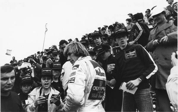Zolder, Belgium. 11th - 13th May 1979. James Hunt (Wolf WR7-Ford), retired, signs autographs for fans, atmosphere, portrait.  World Copyright: LAT Photographic.  Ref:  B/W Print.