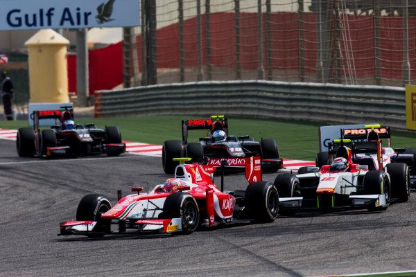 2017 FIA Formula 2 Round 1. Bahrain International Circuit, Sakhir, Bahrain.  Sunday 16 April 2017. Antonio Fuoco (ITA, PREMA Racing), Stefano Coletti (MON, Campos Racing)  Photo: Zak Mauger/FIA Formula 2. ref: Digital Image _X0W4921
