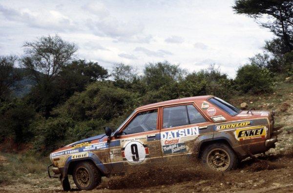 1979 World Rally Championship.Safari Rally, Kenya. 12-16 April 1979.Shekhar Mehta/Mike Doughty (Datsun 160J), 1st position.World Copyright: LAT PhotographicRef: 35mm transparency 79RALLY04
