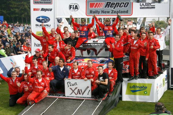 Rally New Zealand, 28th - 31st  August   2008World Copyright: McKlein/LATSebastien Loeb, Citroen, podiumDaniel Elena, Citroen, podiumDani Sordo, Citroen, podium