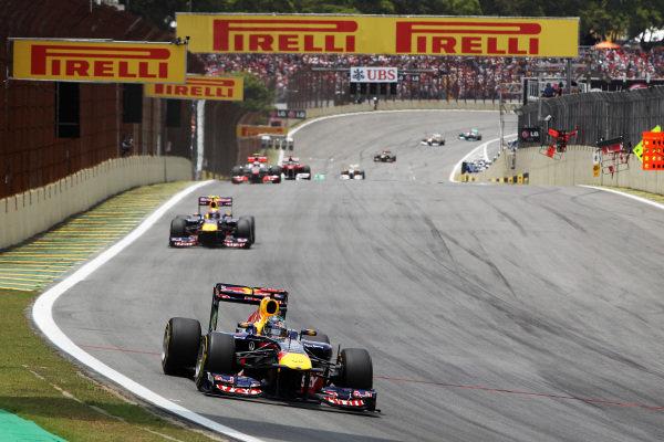 Sebastian Vettel (GER) Red Bull Racing RB7. Formula One World Championship, Rd 19, Brazilian Grand Prix, Race, Interlagos, Sao Paulo, Brazil, Sunday 27 November 2011.   BEST IMAGE