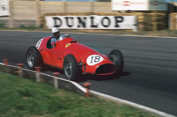 Aintree, England. 14-16 July 1955. Maurice Trintignant (Ferrari 625). Ref-55 GB 03. World Copyright - LAT Photographic