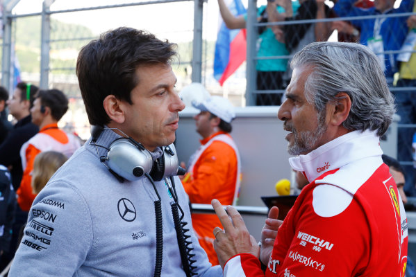 Sochi Autodrom, Sochi, Russia.  Sunday 01 May 2016. Toto Wolff, Executive Director (Business), Mercedes AMG and Mauricio Arrivabene, Team Principal, Ferrari.  World Copyright: Steven Tee/LAT Photographic ref: Digital Image _H7I3840