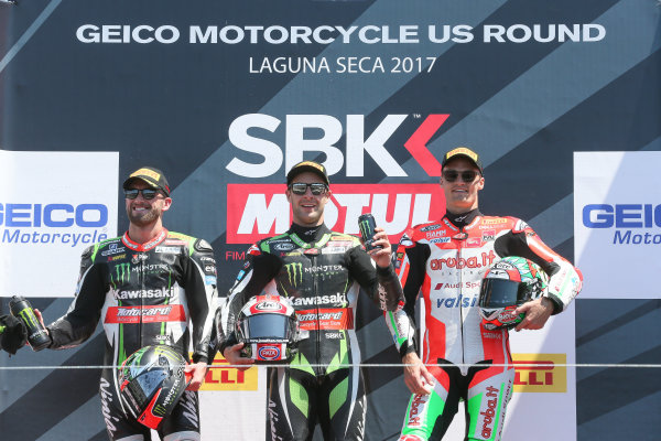 2017 Superbike World Championship - Round 8 Laguna Seca, USA. Sunday 9 July 2017 Podium: winner Jonathan Rea, Kawasaki Racing, second place Tom Sykes, Kawasaki Racing, third place Chaz Davies, Ducati Team World Copyright: Gold and Goose/LAT Images ref: Digital Image 683470