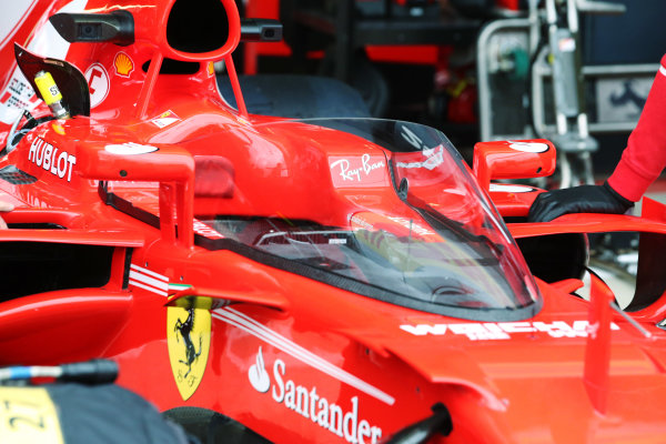 Silverstone, Northamptonshire, UK.  Friday 14 July 2017. Shield frontal protection system fitted to the car of Sebastian Vettel, Ferrari SF70H, for first practice. World Copyright: Charles Coates/LAT Images  ref: Digital Image AN7T4055