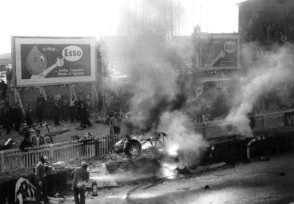 """Le Mans, France. 11-12 June 1955.The aftermath of the worst tragedy in motor racing history. After 2 hours of the race """"Pierre Levegh"""" crashed into the crowd killing himself and 82 spectators. Picture 4 of 5. Ref-Motor 5682G/27.World Copyright - LAT Photographic"""