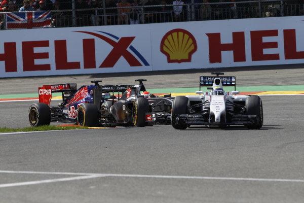Spa-Francorchamps, Spa, Belgium. Sunday 24 August 2014. Felipe Massa, Williams FW36 Mercedes, leads Adrian Sutil, Sauber C33 Ferrari, and Jean-Eric Vergne, Toro Rosso STR9 Renault. World Copyright: Sam Bloxham/LAT Photographic. ref: Digital Image _G7C7489
