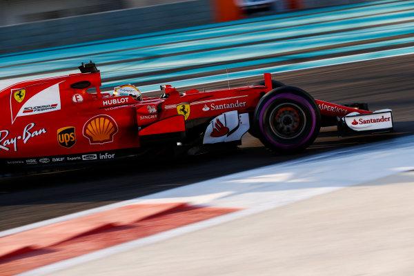 Yas Marina Circuit, Abu Dhabi, United Arab Emirates. Wednesday 29 November 2017. Sebastian Vettel, Ferrari SF70H.  World Copyright: Zak Mauger/LAT Images  ref: Digital Image _O3I2021