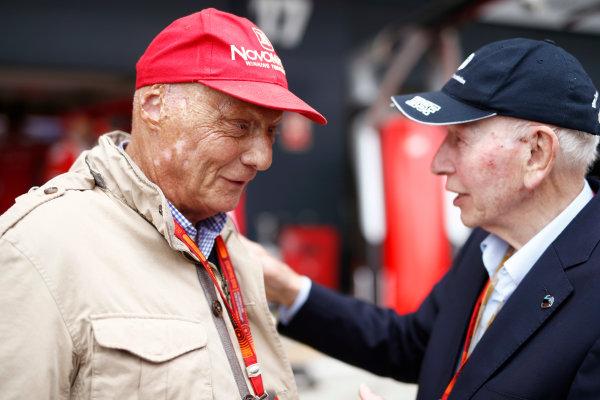 Silverstone, Northamptonshire, UK Sunday 10 July 2016. Former world champions Niki Lauda and John Surtees. World Copyright: Glenn Dunbar/LAT Photographic ref: Digital Image _V2I0033