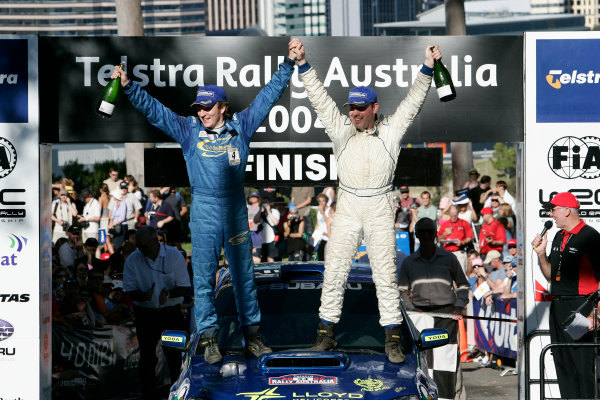 2004 FIA World Rally Champs. Round Sixteen, Rally Australia.11th - 14th November 2004.Niall McShea, Subaru, Podium.World Copyright: McKlein/LAT