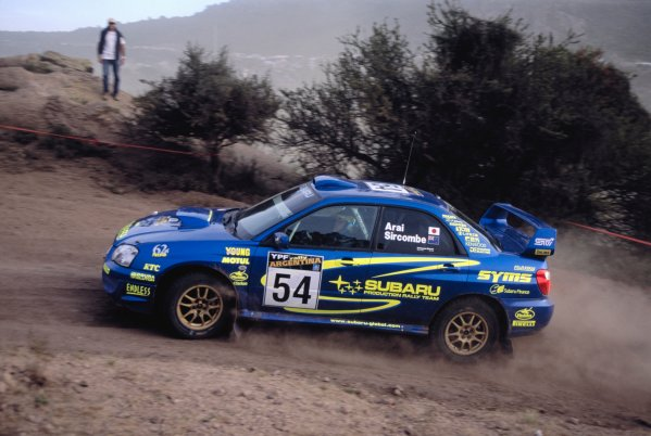 2003 World Rally ChampionshipRally Argentina, Cordoba, Argentina, 7th - 11th May 2003.Toshi Arai/Tony Sircombe (Subaru Impreza), action.World Copyright: LAT Photographicref: 03WRCArg03