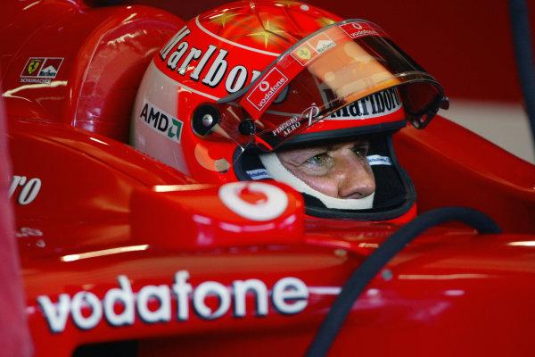 2004 Italian Grand Prix - Friday Practice,Monza, Italy. 10th September 2004 Michael Schumacher, Ferrari F2004.World Copyright: Steve Etherington/LAT Photographic ref: Digital Image Only